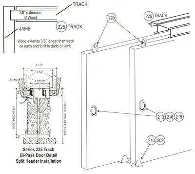 Split Header Bi Pass Recessed Track & Hardware